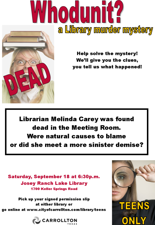 Whodunit - September 18 at 6:00p.m.