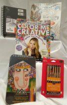 Creative Crate Keyword: Art Contains: *Color Me Creative by Kristina Webb, signed book *Art Therapy coloring book, book *Sketch book *Prismacolor colored pencils *Sakura micron pens