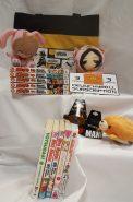 Manga Mania Keyword: MangaContains: *3 month gift subscription to crunchyroll.com *Kitchen Princess 1 by Natsumi Ando, manga *The Melancholy of Haruhi Suzumiya 1 by Nagaru Tanigawa, manga *Ultra Maniac 2-3 by Wataru Yoshizumi, manga *Yotsuba&! 1 by Kiyohiko Azuma, manga *Naruto 1-5 by Masashi Kishimoto, manga *Momoji (Ouran Host Club) pluahiw *Sebastian (Black Butler) plushie *Bread Pet plushie/coin wallet *Attack on Titan wristband *I <3 Manga wristband