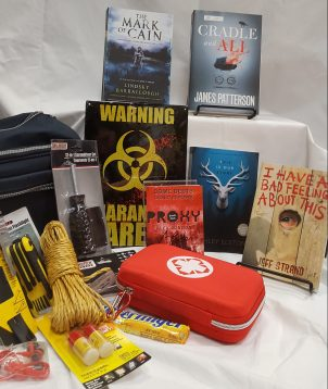 Survival Kit Keyword: SurviveContains: *Proxy by Alex London sneak peak, signed *Cradle and All by James Patterson, Advanced Readers Copy *The Mark of Cain by Lindsey Barraclough, Advanced Readers Copy *This is Our Story by Ashley Elston, Advanced Readers Copy *I Have a Bad Feeling About This by Jeff Strand, book *Horror Survival Kit (first aid kid, quarantine sign, rope, mini-prybar, flashlight, and many other useful tools to survive!)